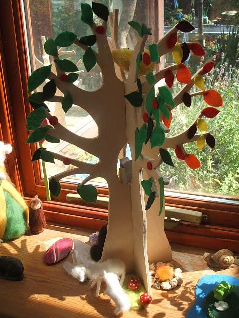 waldorf steiner inspired wooden slot in 3D seasonal tree nature's table. $15.50, via Etsy.