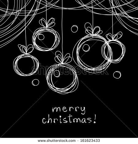 Vector Christmas doodle background. Christmas balls in hand drawn childish sketch style. Invitation, greeting decorative card. Abstract linear black and white illustration on chalkboard with text box – stock vector