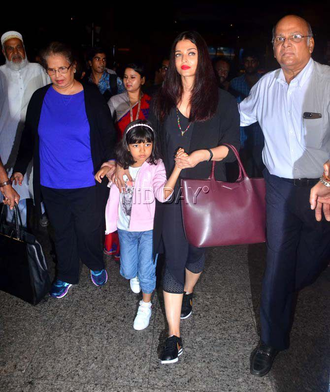Photos: Aishwarya with daughter Aaradhya, Priyanka Chopra at airport-Entertainment