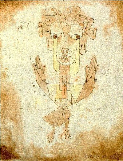 """""""Un disegno di Paul Klee si intitola Angelus Novus: raffigura un angelo con gli occhi spalancati, la bocca aperta,le ali distese. E' l'angelo della storia: nelle sue ali è impigliata una tempesta che lo spinge inesorabilmente verso il futuro, cui volge le spalle, mentre il cumulo delle rovine del passato sale dinnanzi a lui verso il cielo. Ciò che chiamiamo progresso è questa tempesta"""" Walter Benjamin"""