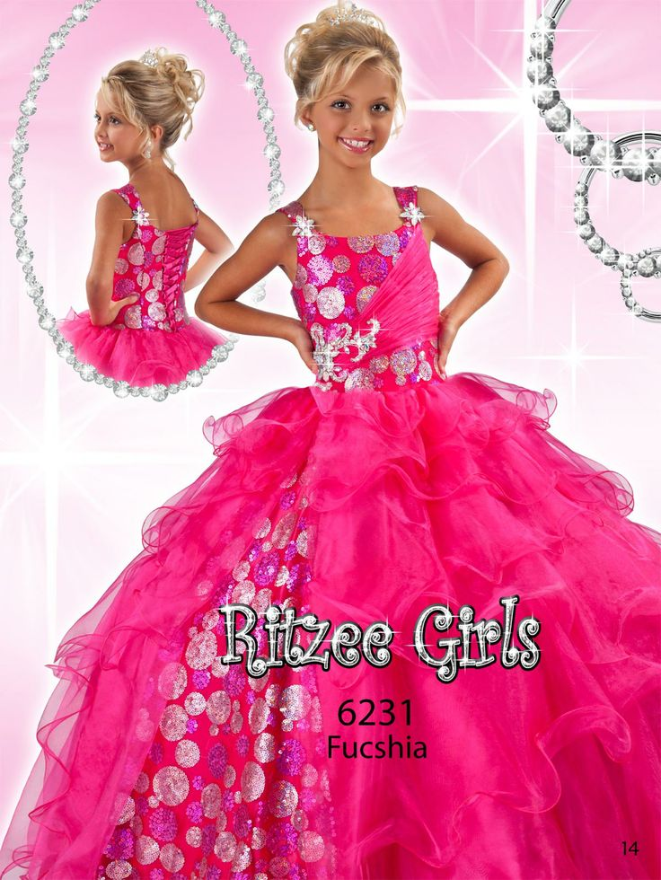Princess Glam organza/sequin pageant dress for children Ritzee Girls 6231. A magic tiara and a glittering gown will make this little girl the preference of the crowd!. Metallic sequins along one side of the asymmetrical pleated midriff, the natural waist and side skirt's panel, give a futuristic effect making this girl the most modern on stage. Delicate flower ornaments top off the shoulder straps, while the tiered full skirt drifts to the floor length in multiple magical swirls. Find this…
