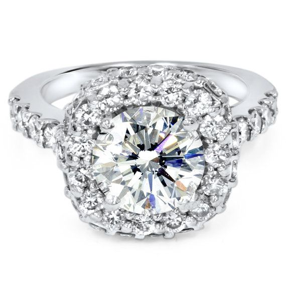 3.66CT Diamond Engagement Double Halo Ring 14K White by Pompeii3