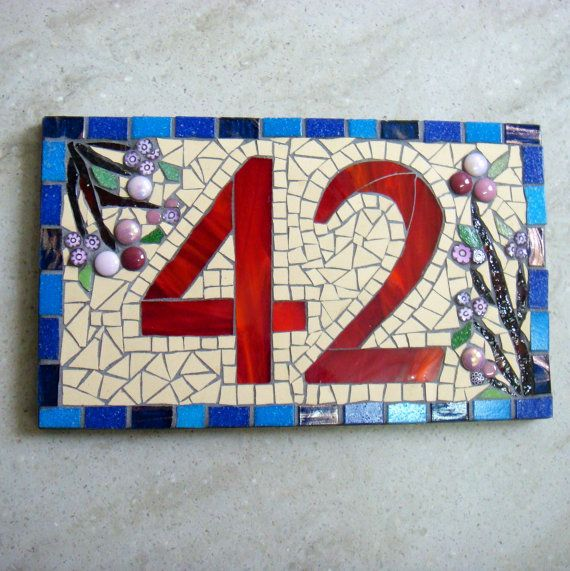 Mosaic House Numbernumber signstreet by FunkyMosaicsUK on Etsy