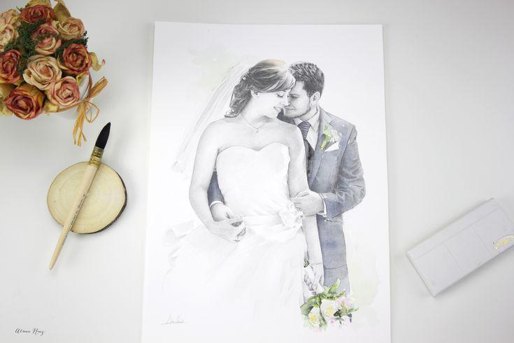 Retrato dibujado a lápiz y acuarela aniversario de bodas. Pencil drawing, watercolor. Wedding aniversary