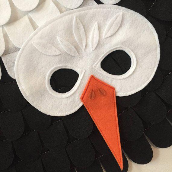 Stork Costume Set Felt Mask And Flappable Wings Egret Costume