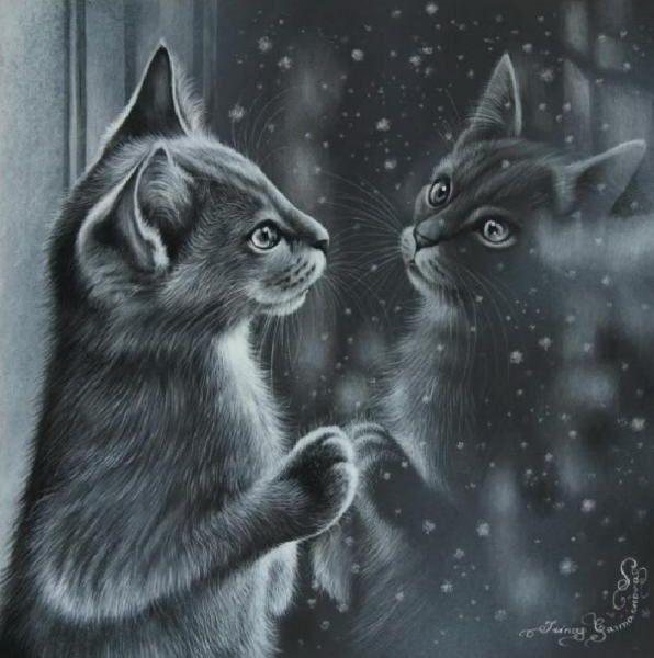 Cat in the window painting. Irina Garmashova