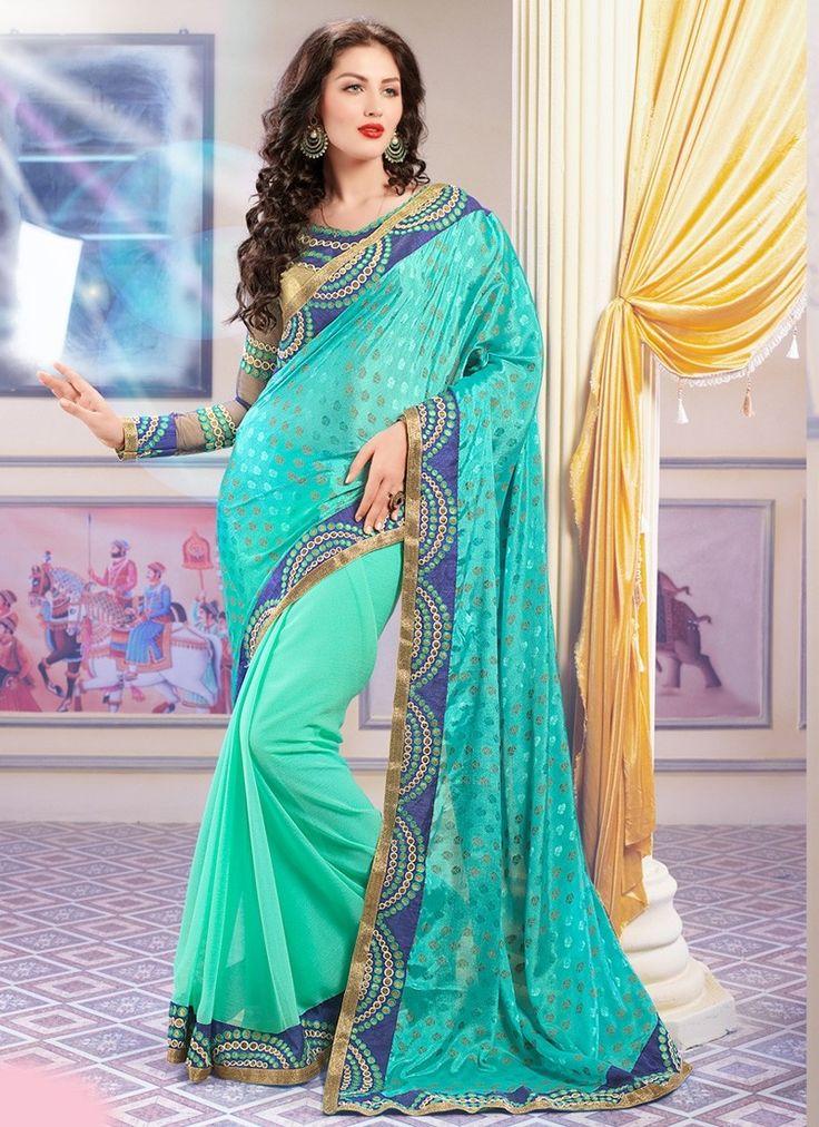 Shop Online Turquoise Crepe Jaquard Georgette #DesignerSaree