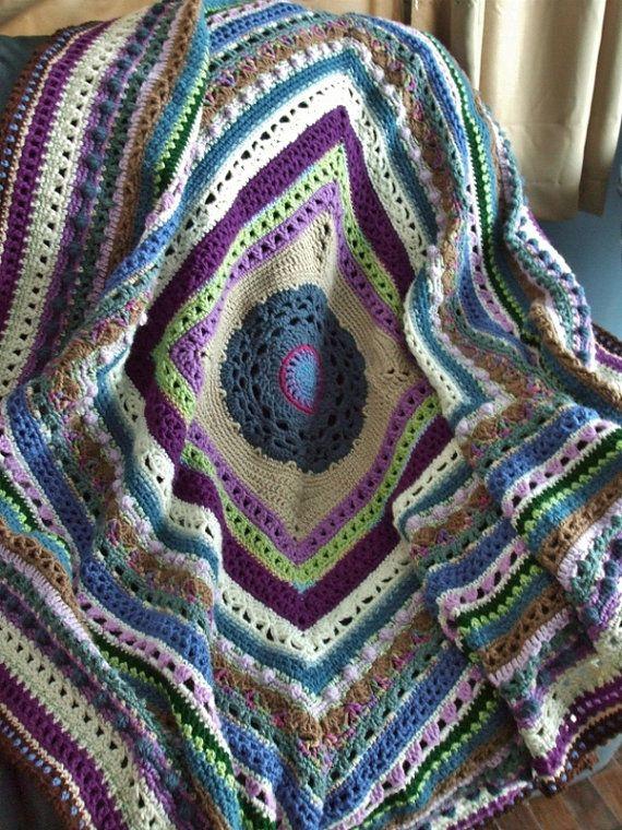 Mejores 1342 imágenes de Mantas de crochet en Pinterest | Patrones ...