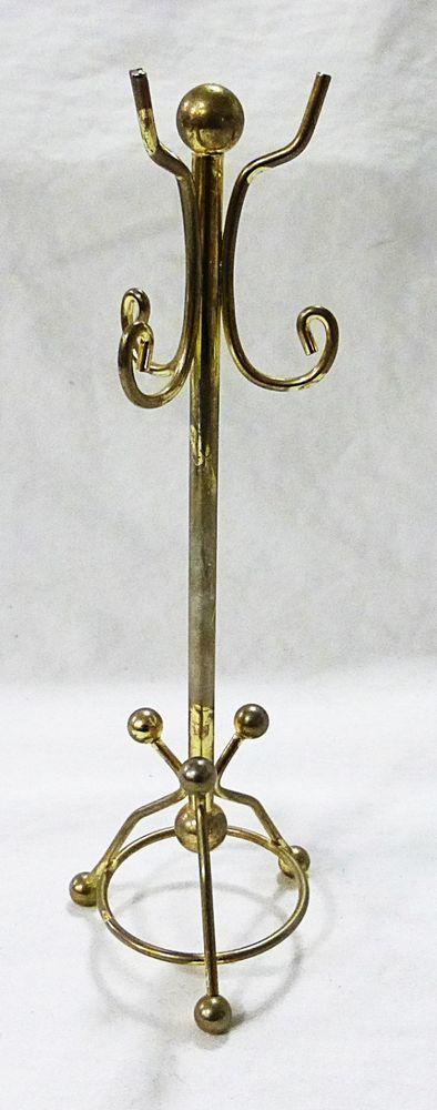 Vintage metal doll house furniture miniature gold metal coat hanger #Unbranded