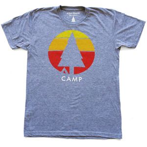 Camp T-Shirt and Tank Top  Whether you're hanging around a car and a fire with smores and a cooler, or nine miles deep in the back country with just you, a buddy, and the night sky, camping is a grand time. So make it the best summer ever with one of these tees and a journey to remember.  Custom Neck Tag.  Hatchet not Included. $27