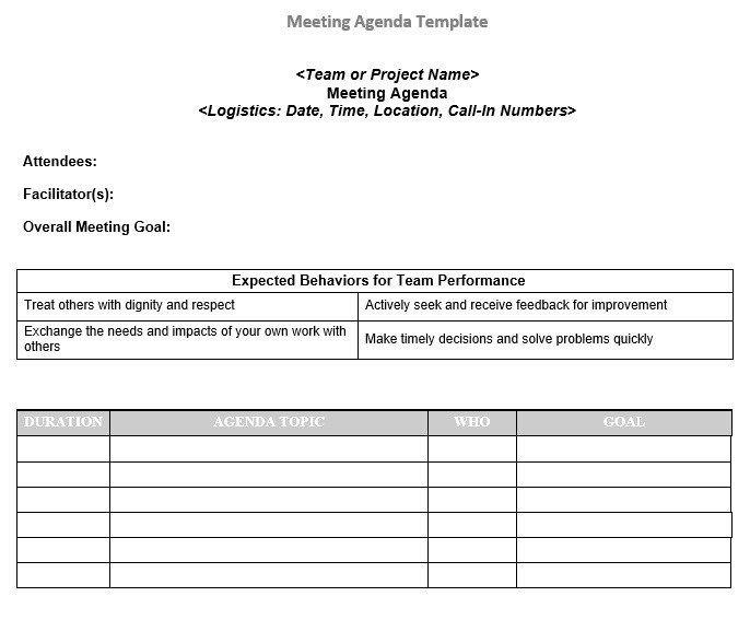 Project Team Meeting Agenda Templates Meeting Agenda Template