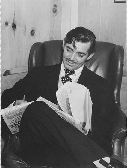 Clark Gable reading  fan mail,1940s