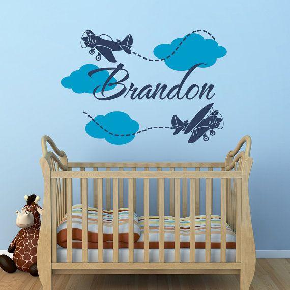 Airplane Name Wall Decal Boy Cloud Boys Room Decals Nursery 038