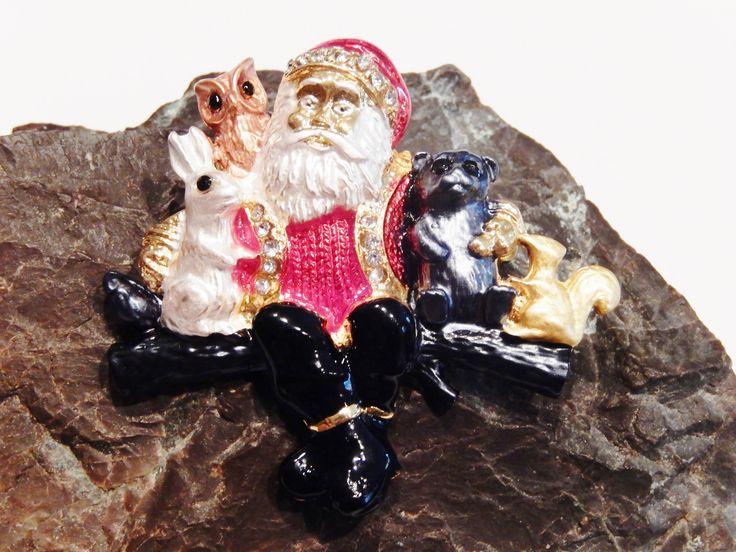 18k Gold Plated Santa Claus Christmas Pin Brooch