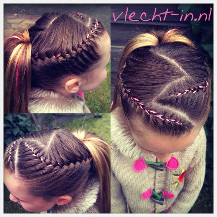 Two french braids with ribbon and a ponytail. www.vlecht