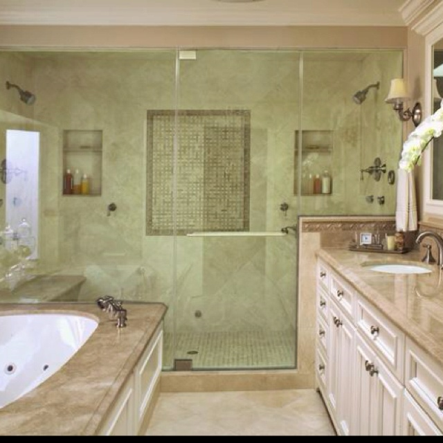 Double Stand Up Shower   No Bathtub. Http://www.hgtv.