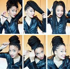 Leather Jacket and Box Braids Styled into a Lazy Bun