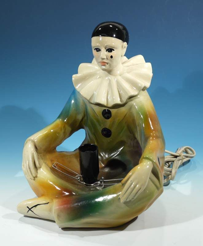 Vintage Chalkware Pierrot Clown Lamp Tretchikoff Era Retro