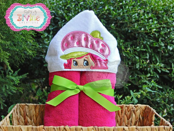 Berry Girl Hooded Towel - Shortcake Fun 80s character  Pink Lime Green Bath Towel - pinned by pin4etsy.com
