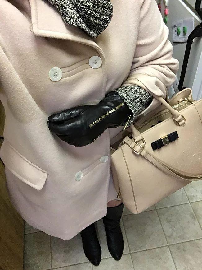 Coat - Value Village/ Ralph Lauren Sweater - Value Village/ Skirt - Joe Fresh/ Michael Kors Gloves - Marshalls/ Bag - Danier/ Steve Madden Boots - Plenty