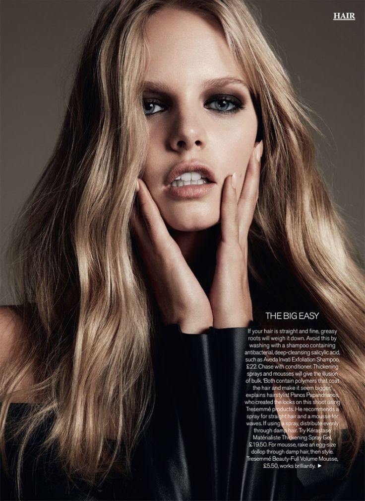 Wearing her hair in undone waves, Marloes Horst poses for Marie Claire UK