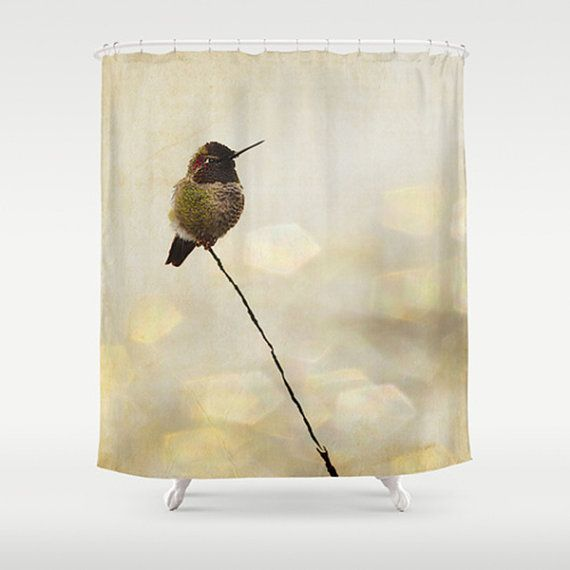 Custom shower curtain hummingbird shower curtain extra for Nature inspired shower curtains
