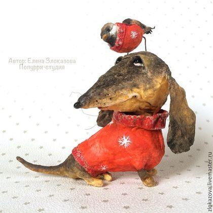 Куклы и игрушки ручной работы. Ярмарка Мастеров - ручная работа. Купить такс и воробей. Handmade. Коричневый, собака, собака смешная