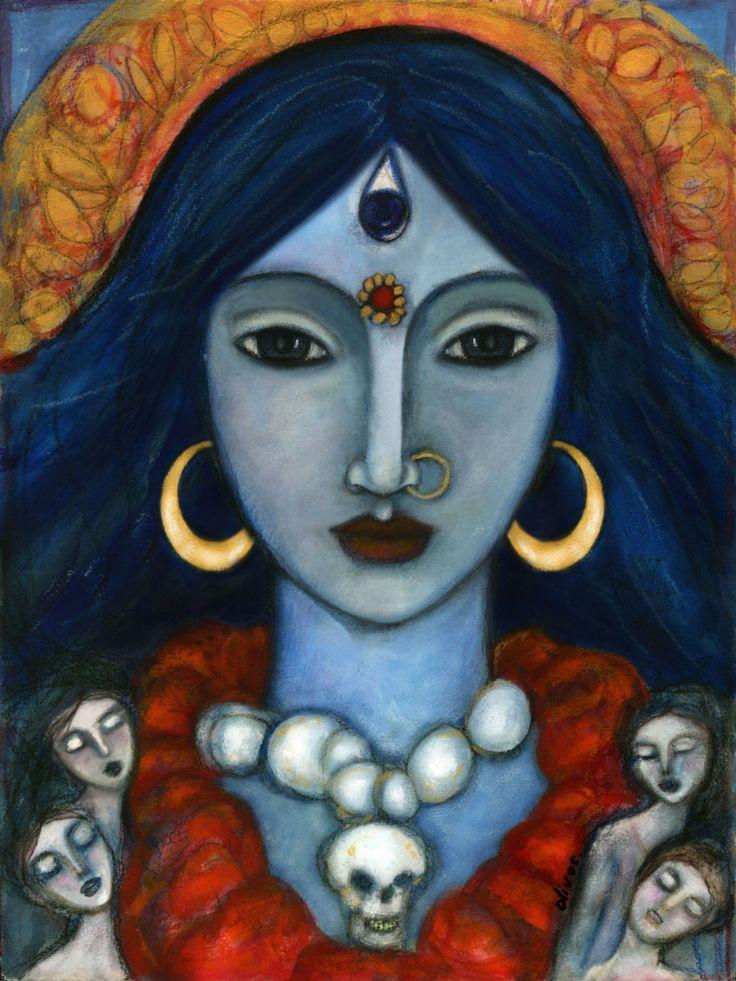 Hindu Goddess - Kali - inspirational wall art - Goddess of Renewal - Goddess Art Collection - Hinduism - gift for her - Boho - handmade by OlivosARTstudio on Etsy