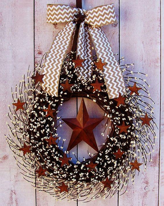BURLAP CHEVRON Rusty Stars White Berry Door Wreath-Winter Wreath-Spring Wreath-Front Door Wreath-Rustic Primitives Country Home Decor