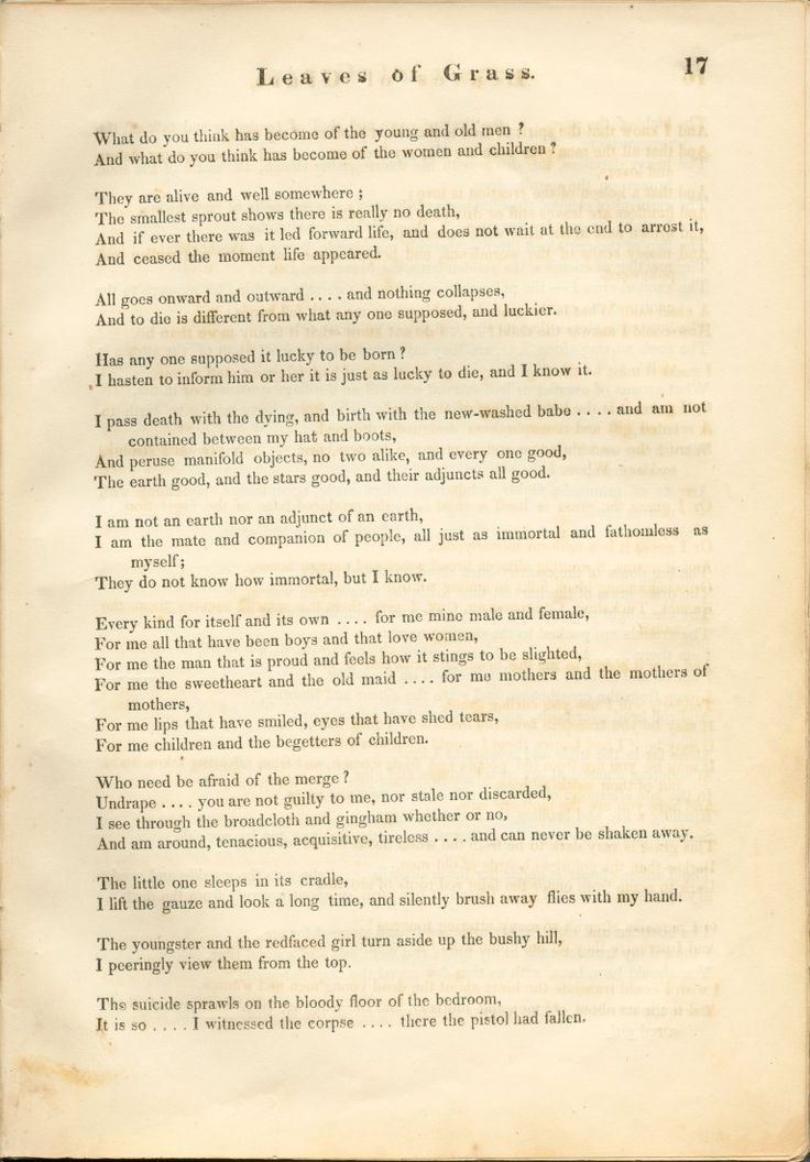 Song of Myself 6 - Walt Whitman - from the 1855 first edition of Leaves of Grass