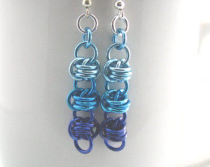 Brillant de barils Chainmaille Ombre boucles d'oreilles - Collection Colorfalls