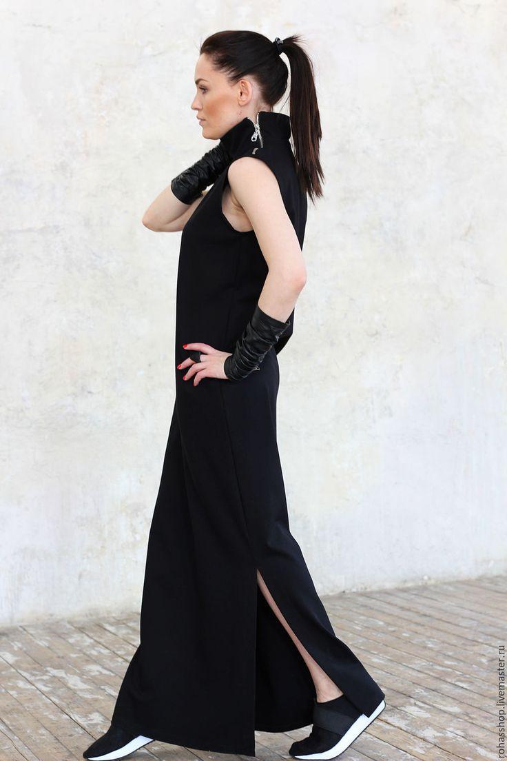 Купить Платье Perle Rare - черный, платье, платье макси, черное длинное платье