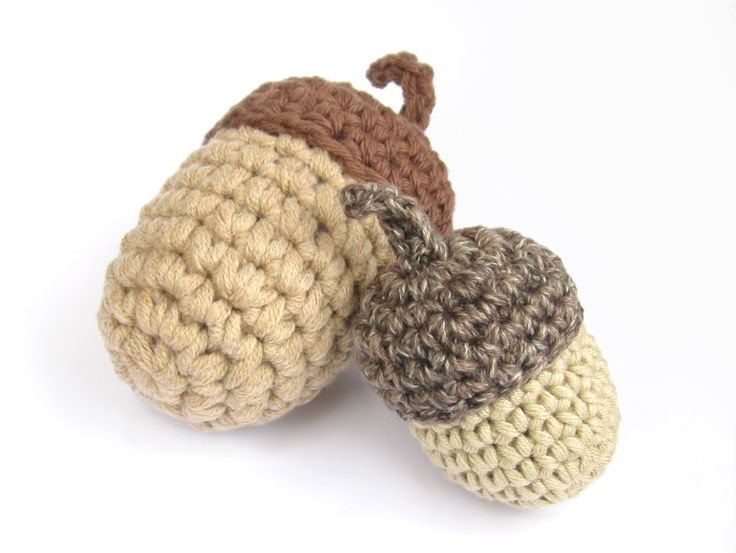 Crocheted Acorn free pattern *use as accessory for squirrel *fall decorations: w/ applique leaves, cornucopia, pumpkins etc.                                                                                                                                                     More