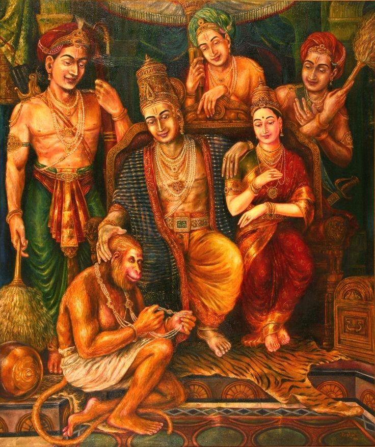 During the coronation of Rama, Sita gifts a pearl necklace to Hanuman. Oil on canvas. 1991.