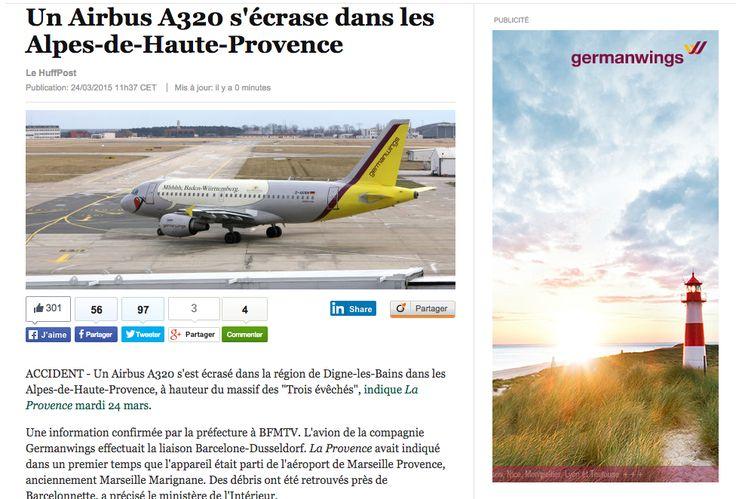 """""""Via @LeHuffPost Quand actu et pub se mêlent de manière hasardeuse... #Germanwings"""""""