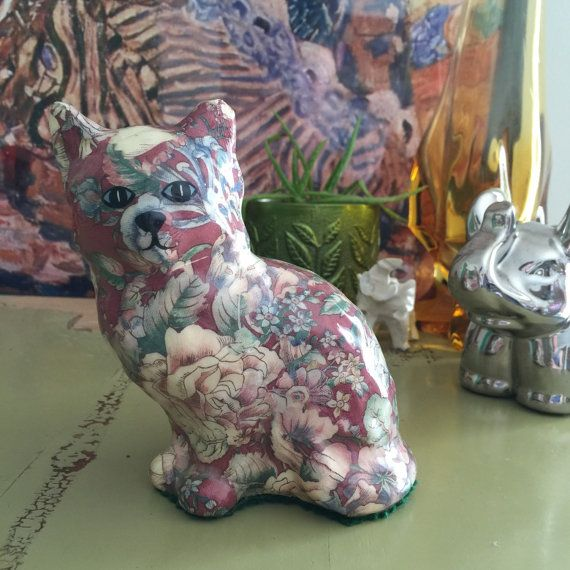 Vintage Handmade Cat Figurine Floral by AestheticallyHipster