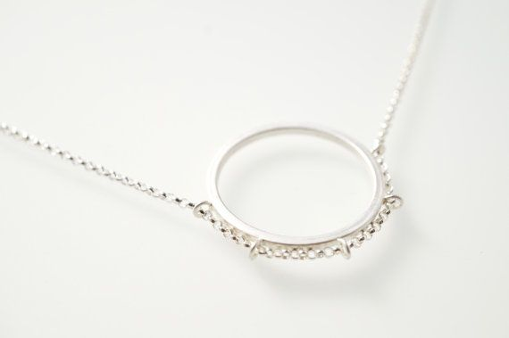 Circle Sterling Silver Necklace Round Sterling by HesisJewelry