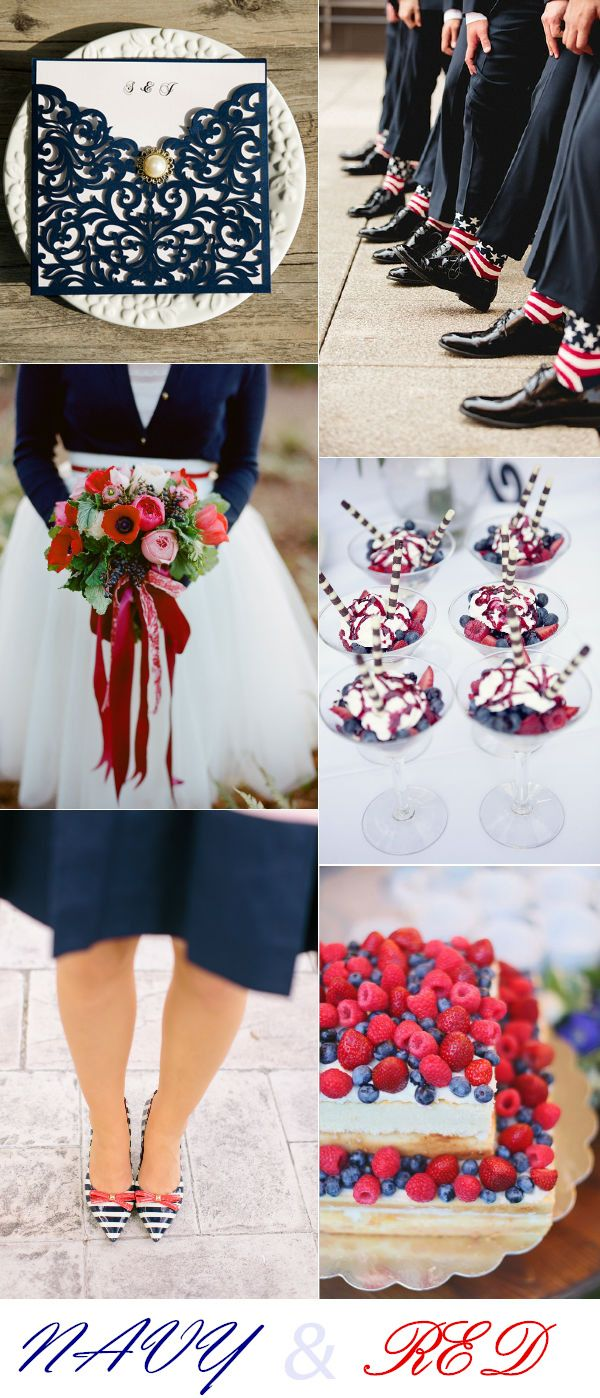 elegant navy  blue and  red wedding color ideas