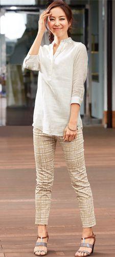 綺麗に着れて着回し力抜群のスキッパーシャツのコーデ♪40代アラフォー女性のスキッパーシャツのコーデ♪