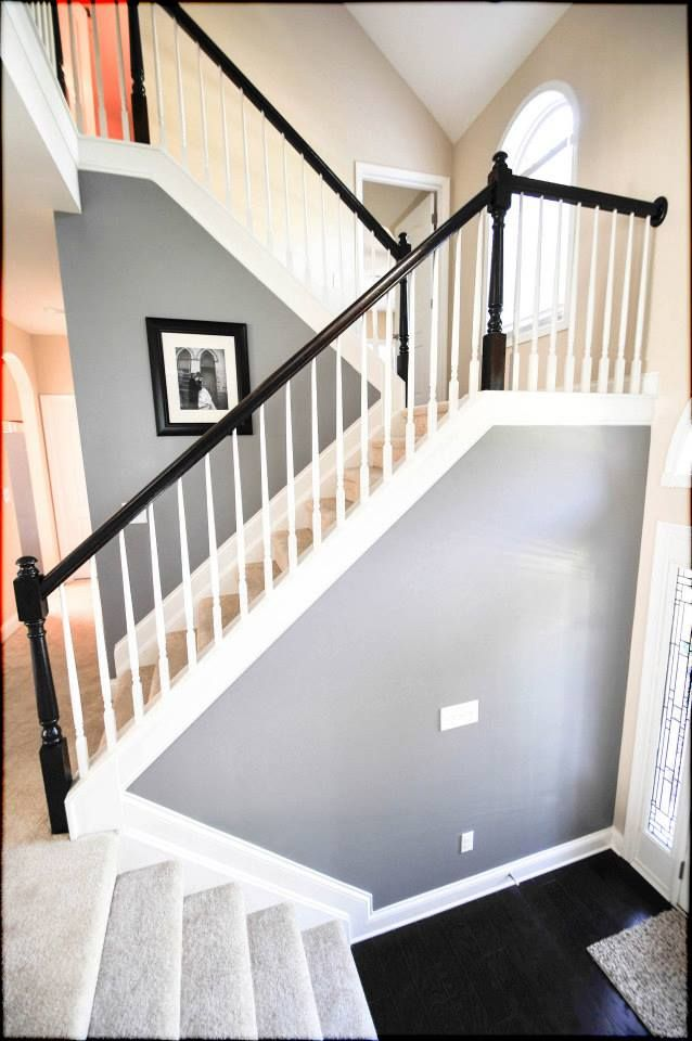 Cathedral Stone Grey by Valspar. Love the black banister with the grey/white #greywalls #grey