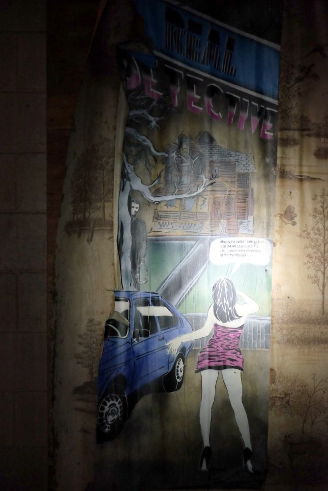 "Art by the ""Real Detective"" a.k.a. ""Rail Detective""   Photo by Dennis Powell/Athens News.  Convenience Store Wanted. March 2016.  #streetart #graffiti"