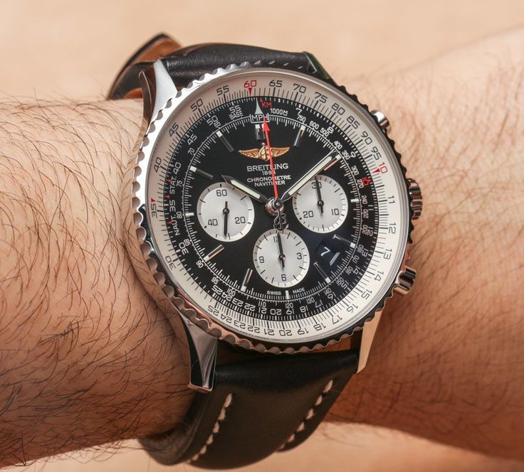 """Breitling Navitimer GMT 48mm Watch Hands-On - today on aBlogtoWatch.com """"The newest Breitling Navitimer models are new GMT versions that sport quite beefy 48mm wide cases and also new 46mm wide Navitimer models... Breitling makes watches for guys who like big watches. That might just be a good slogan for the brand moving forward. In fact, among the mainstream luxury brands, Breliting is among the few that routinely make watches that I actually find too large for my wrists..."""""""