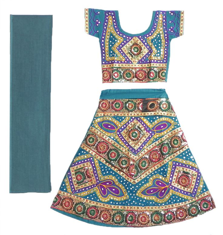 Embroidered Cyan Blue Ghagra Choli with Bead and Sequin Work (Cotton Cloth)