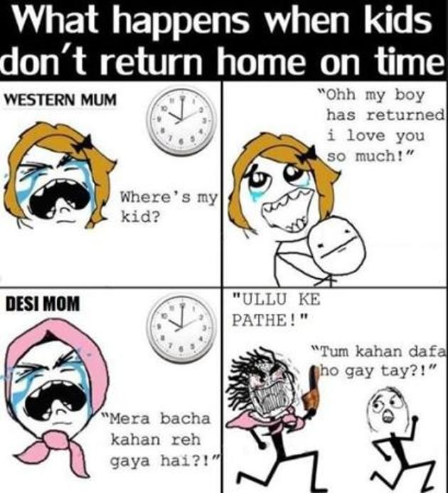 Difference in Western Mom and Desi Mom – Funny Image 2014
