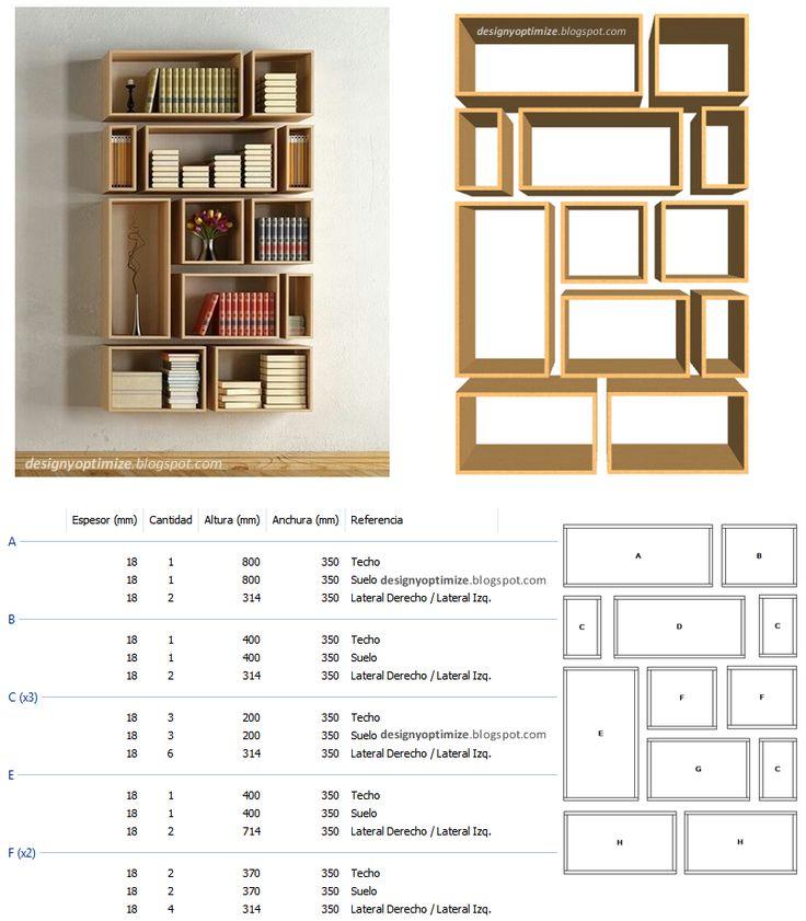 Diseño De Muebles Madera Construir Biblioteca De Cubos Irregulares