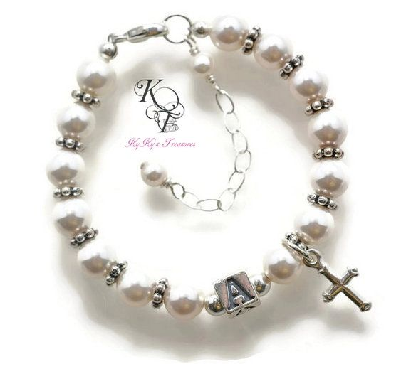 Personalized Baptism Gift Baptism Bracelet by KyKysTreasuresLLC