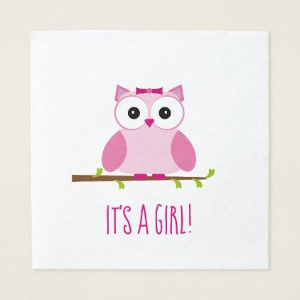 It's a Girl Owl Cartoon Gender Reveal Baby Shower Paper Napkin - baby gifts giftidea diy unique cute