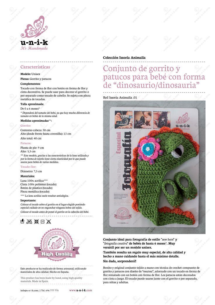 """Conjunto de gorrito y patucos para bebé con forma de """"dinosausio/a"""" tejido a crochet. Ref: Issoria Animalia .01"""