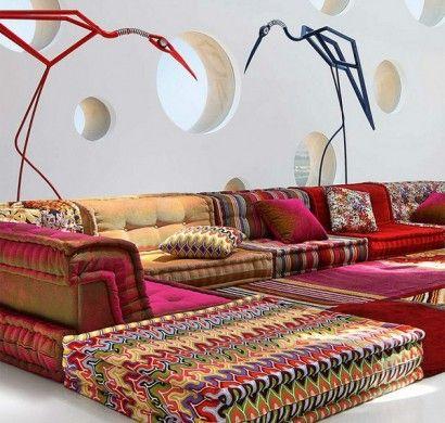 Böhmische-Wohnzimmer-Roche Bobois-Modular-Sofa-Kissen