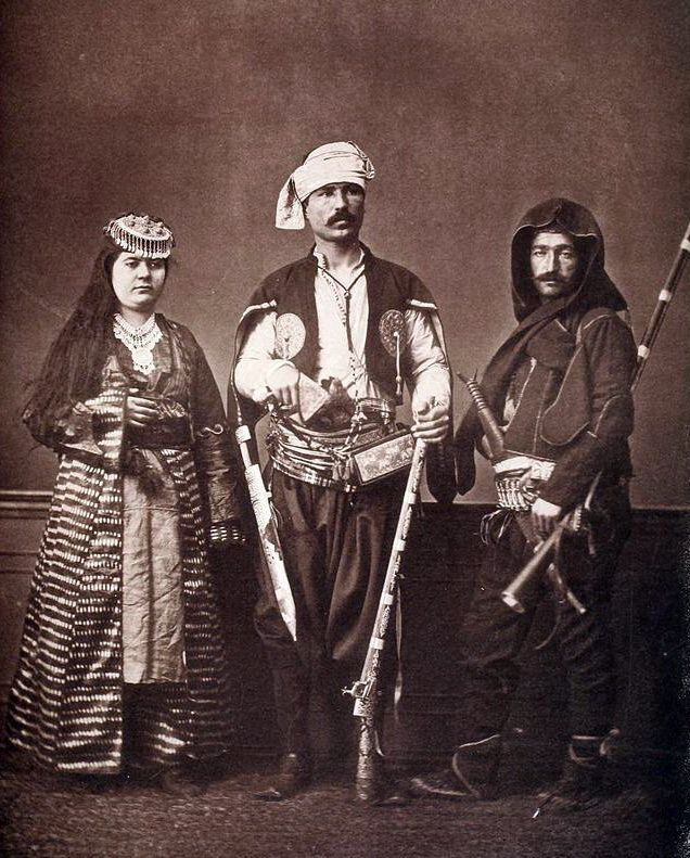 Trabzon Traditional clothes in Ottoman empire era, man from Trabzon city, woman from Trabzon, man from rural area - Laz People